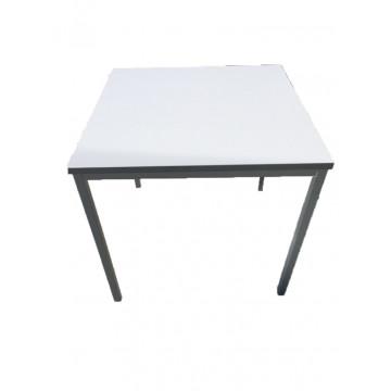 Birou Toni, Blat Lemn, Culoare Alb Pal, Picioare metalice, Forma Patrat Mobilier Office