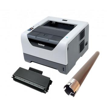 Imprimanta Laser Monocrom Brother HL-5350DN, Duplex, Retea, USB, 1200 x 1200 dpi, Cartus + Unitate Drum noi, Rola Fuser noua, Second Hand Imprimante Second Hand