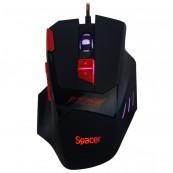 Mouse Optic de Gaming Spacer, 1000/1600/2000/2400 dpi, 8/1 Butoane/Rotite, iluminare LED RGB - 7 cicluri prestabilite, USB, cu fir, Negru Periferice