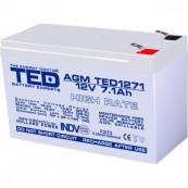 Acumulator stationar VRLA AGM 12V, 7,1Ah, High Rate, F2/ T2, TED Electric, etans, UPS, Back-UP