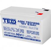 Acumulator stationar VRLA AGM 12V, 9.6 Ah, High Rate, F2/ T2, TED Electric, Etans, UPS, Back-UP