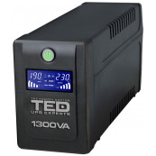 UPS TED Line Interactive 1300VA/750W, display LCD, 4 x Schuko Retelistica