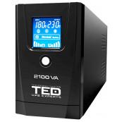 UPS TED Line Interactive 2100VA/1200W, display LCD, 2 x Schuko Retelistica