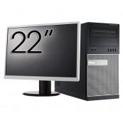 Pachet Calculator Dell OptiPlex 7010 Tower, Intel Core i5-3470 3.20GHz, 4GB DDR3, 500GB SATA, DVD-RW + Monitor 22 Inch, Second Hand Oferte Pachete IT
