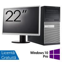 Pachet Calculator Dell OptiPlex 7010 Tower, Intel Core i5-3470 3.20GHz, 4GB DDR3, 500GB SATA, DVD-RW + Monitor 22 Inch + Windows 10 Pro