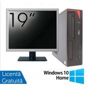 Pachet Calculator Fujitsu E420 Desktop, Intel Core i5-4460 3.20GHz, 4GB DDR3, 500GB SATA, DVD-RW + Monitor 19 Inch + Windows 10 Home, Refurbished Oferte Pachete IT