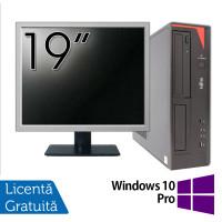 Pachet Calculator Fujitsu E420 Desktop, Intel Core i5-4460 3.20GHz, 4GB DDR3, 500GB SATA, DVD-RW + Monitor 19 Inch + Windows 10 Pro