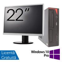 Pachet Calculator Fujitsu E420 Desktop, Intel Core i5-4460 3.20GHz, 4GB DDR3, 500GB SATA, DVD-RW + Monitor 22 Inch + Windows 10 Pro