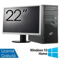 Pachet Calculator Fujitsu ESPRIMO P710 Tower, Intel Core i3-3220 3.30GHz, 4GB DDR3, 250GB SATA, DVD-RW + Monitor 22 Inch + Windows 10 Home