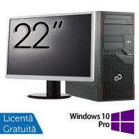 Pachet Calculator Fujitsu ESPRIMO P710 Tower, Intel Core i3-3220 3.30GHz, 4GB DDR3, 250GB SATA, DVD-RW + Monitor 22 Inch + Windows 10 Pro
