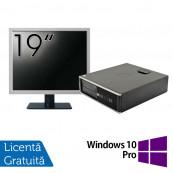 Pachet Calculator HP 6300 SFF, Intel Core i3-2120 3.30GHz, 4GB DDR3, 250GB SATA, 1 Port Serial + Monitor 19 Inch + Windows 10 Pro, Refurbished Calculatoare Refurbished