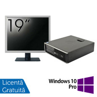 Pachet Calculator HP 6300 SFF, Intel Core i3-2120 3.30GHz, 4GB DDR3, 250GB SATA, 1 Port Serial + Monitor 19 Inch + Windows 10 Pro