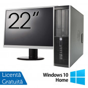 Pachet Calculator HP 6300 SFF, Intel Pentium G2020 2.90GHz, 4GB DDR3, 500GB SATA, DVD-RW + Monitor 22 Inch + Windows 10 Home, Refurbished Oferte Pachete IT