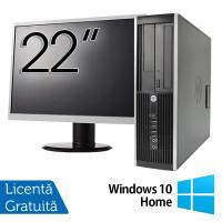 Pachet Calculator HP 6300 SFF, Intel Pentium G2020 2.90GHz, 4GB DDR3, 500GB SATA, DVD-RW + Monitor 22 Inch + Windows 10 Home