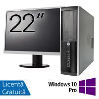 Pachet Calculator HP 6300 SFF, Intel Pentium G2020 2.90GHz, 4GB DDR3, 500GB SATA, DVD-RW + Monitor 22 Inch + Windows 10 Pro