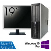 Pachet Calculator HP 8200 SFF, Intel Pentium G850 2.90GHz, 4GB DDR3, 250GB SATA, DVD-RW + Monitor 19 Inch + Windows 10 Pro, Refurbished Oferte Pachete IT
