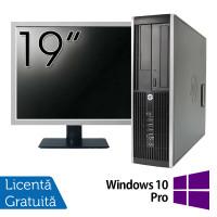 Pachet Calculator HP 8200 SFF, Intel Pentium G850 2.90GHz, 4GB DDR3, 250GB SATA, DVD-RW + Monitor 19 Inch + Windows 10 Pro