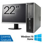 Pachet Calculator HP 8200 SFF, Intel Pentium G850 2.90GHz, 4GB DDR3, 250GB SATA, DVD-RW + Monitor 22 Inch + Windows 10 Home, Refurbished Oferte Pachete IT