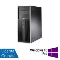 Calculator HP Compaq 8000 Elite Tower, Intel Core 2 Duo E7500 2.93GHz, 4GB DDR3, 250GB SATA, DVD-RW + Windows 10 Pro