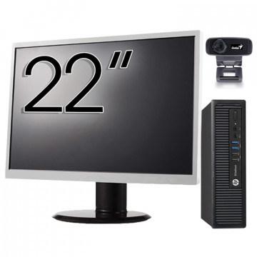 Pachet Calculator HP 800 G1 USDT, Intel Core i5-4590s 3.00GHz, 8GB DDR3, 500GB SATA + Monitor 22 Inch + Webcam + Tastatura si Mouse, Second Hand Solutii lucru acasa/scoala