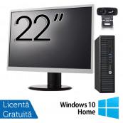 Pachet Calculator HP 800 G1 USDT, Intel Core i5-4590s 3.00GHz, 8GB DDR3, 500GB SATA + Monitor 22 Inch + Webcam + Tastatura si Mouse + Windows 10 Home, Refurbished Solutii de lucru pentru acasa sau scoala