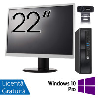 Pachet Calculator HP 800 G1 USDT, Intel Core i5-4590s 3.00GHz, 8GB DDR3, 500GB SATA + Monitor 22 Inch + Webcam + Tastatura si Mouse + Windows 10 Pro
