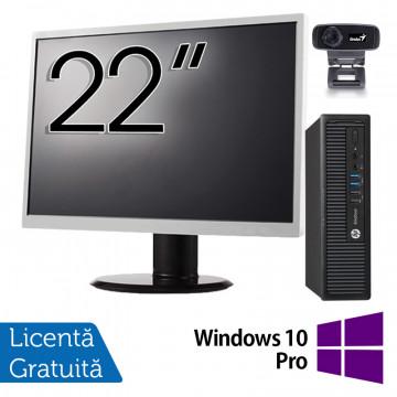 Pachet Calculator HP 800 G1 USDT, Intel Core i5-4590s 3.00GHz, 8GB DDR3, 500GB SATA + Monitor 22 Inch + Webcam + Tastatura si Mouse + Windows 10 Pro, Refurbished Solutii de lucru pentru acasa sau scoala