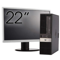 Pachet Calculator HP RP5800 SFF, Intel Core i3-2100 3.10GHz, 4GB DDR3, 500GB SATA, DVD-RW + Monitor 22 Inch