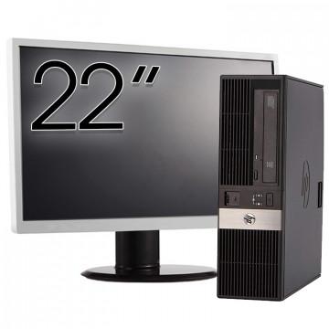 Calculator HP RP5800 SFF, Intel Core i3-2120 3.30GHz, 8GB DDR3, 250GB SATA, Radeon HD7470 1GB DDR3, DVD-ROM, 2 Porturi Serial + Monitor 22 Inch, Second Hand Calculatoare Second Hand