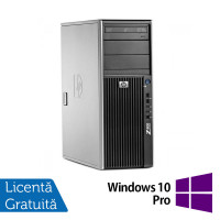 WorkStation Refurbished HP Z400, Intel Xeon Quad Core E5620, 2.40GHz, 4GB DDR3 ECC, 500GB SATA, AMD Radeon HD8490/1GB, DVD-RW + Windows 10 Pro