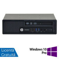 Calculator HP EliteDesk 800 G1 USDT, Intel Core i3-4160 3.60GHz, 4GB DDR3, 500GB SATA, DVD-RW + Windows 10 Pro