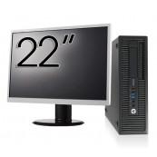 Pachet Calculator HP EliteDesk 800 G1 SFF, Intel Core i5-4570 3.20GHz, 4GB DDR3, 500GB SATA, DVD-RW + Monitor 22 Inch, Second Hand Oferte Pachete IT
