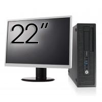 Pachet Calculator HP EliteDesk 800 G1 SFF, Intel Core i5-4570 3.20GHz, 4GB DDR3, 500GB SATA, DVD-RW + Monitor 22 Inch