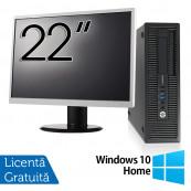 Pachet Calculator HP EliteDesk 800 G1 SFF, Intel Core i5-4570 3.20GHz, 4GB DDR3, 500GB SATA, DVD-RW + Monitor 22 Inch + Windows 10 Home, Refurbished Oferte Pachete IT