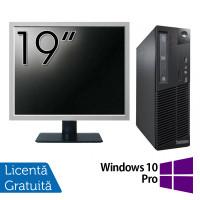 Pachet Calculator LENOVO Thinkcentre M83 SFF, Intel Core i3-4130 3.40GHz, 4GB DDR3, 500GB SATA, DVD-RW + Monitor 19 Inch + Windows 10 Pro