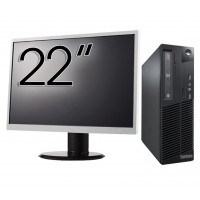 Pachet Calculator LENOVO Thinkcentre M83 SFF, Intel Core i3-4130 3.40GHz, 4GB DDR3, 500GB SATA, DVD-RW + Monitor 22 Inch