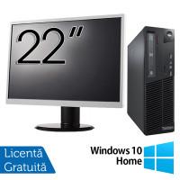 Pachet Calculator LENOVO Thinkcentre M83 SFF, Intel Core i3-4130 3.40GHz, 4GB DDR3, 500GB SATA, DVD-RW + Monitor 22 Inch + Windows 10 Home