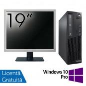 Pachet Calculator LENOVO Thinkcentre M91P SFF, Intel Core i5-2400 3.10GHz, 4GB DDR3, 250GB SATA, DVD-RW + Monitor 19 Inch + Windows 10 Pro, Refurbished Oferte Pachete IT