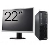 Pachet Calculator LENOVO Thinkcentre M91P SFF, Intel Core i5-2400 3.10GHz, 4GB DDR3, 250GB SATA, DVD-RW + Monitor 22 Inch, Second Hand Oferte Pachete IT
