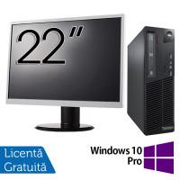 Pachet Calculator LENOVO Thinkcentre M91P SFF, Intel Core i5-2400 3.10GHz, 4GB DDR3, 250GB SATA, DVD-RW + Monitor 22 Inch + Windows 10 Pro