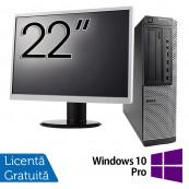 Pachet Calculator DELL 790 Desktop, Intel Core i5-2400 3.10GHz, 4GB DDR3, 250GB SATA, DVD-ROM + Monitor 22 Inch + Windows 10 Pro, Refurbished Oferte Pachete IT