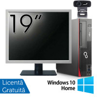 Pachet Calculator Fujitsu Esprimo D756 SFF, Intel Core i3-6100 3.10GHz, 4GB DDR4, 500GB SATA, DVD-RW + Monitor 19 Inch + Webcam + Tastatura si Mouse + Windows 10 Home