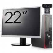 Pachet Calculator Fujitsu Esprimo D756 SFF, Intel Core i5-6400T 2.20GHz, 8GB DDR4, 120GB SSD, DVD-RW + Monitor 22 Inch + Webcam + Tastatura si Mouse, Second Hand Calculator + WebCam + Monitor 22''