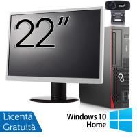 Pachet Calculator Fujitsu Esprimo D756 SFF, Intel Core i5-6400T 2.20GHz, 8GB DDR4, 120GB SSD, DVD-RW + Monitor 22 Inch + Webcam + Tastatura si Mouse + Windows 10 Home