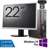 Pachet Calculator Fujitsu Esprimo D756 SFF, Intel Core i5-6400T 2.20GHz, 8GB DDR4, 120GB SSD, DVD-RW + Monitor 22 Inch + Webcam + Tastatura si Mouse + Windows 10 Pro, Refurbished Solutii de lucru pentru acasa sau scoala