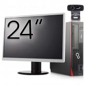 Pachet Calculator Fujitsu Esprimo D756 SFF, Intel Core i5-6400T 2.20GHz, 8GB DDR4, 120GB SSD, DVD-RW + Monitor 24 Inch + Webcam + Tastatura si Mouse, Second Hand Solutii de lucru pentru acasa sau scoala