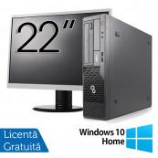 Pachet Calculator Fujitsu Esprimo E500 Desktop, Intel Core i7-2600 3.40GHz, 4GB DDR3, 320GB SATA, DVD-ROM + Monitor 22 Inch + Windows 10 Home, Refurbished Oferte Pachete IT