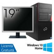 Pachet Calculator Fujitsu Siemens P720, Intel Core i3-4130 3.40GHz, 4GB DDR3, 500GB SATA, DVD-ROM + Monitor 19 Inch + Windows 10 Home, Refurbished Oferte Pachete IT