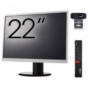 Pachet Calculator Lenovo Mini PC M910, Intel Core i5-7500T 2.70GHz, 4GB DDR4, 120GB SSD + Monitor 22 Inch + Webcam + Tastatura si Mouse, Second Hand Solutii de lucru pentru acasa sau scoala