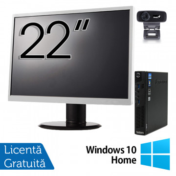 Pachet Calculator Lenovo ThinkCentre M92p Mini PC, Intel Core i5-3470T 2.90GHz, 4GB DDR3, 500GB SATA + Monitor 22 Inch + Webcam + Tastatura si Mouse + Windows 10 Home, Refurbished Solutii de lucru pentru acasa sau scoala